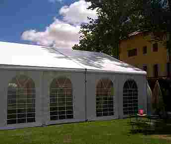 Square tent with windows